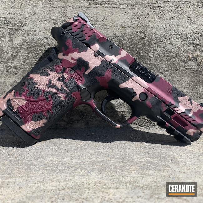 Cerakoted: S.H.O.T,380EZ,Graphite Black H-146,BLACK CHERRY H-319,Smith & Wesson,ROSE GOLD H-327