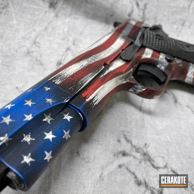 Battleworn American Flag Themed Colt 1911 Pistol Cerakoted Using Armor Black, Habanero Red And Hidden White