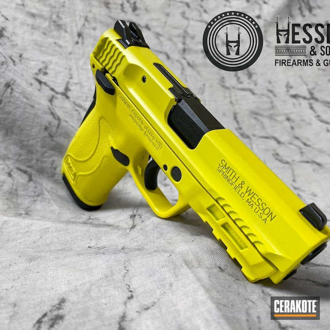 Cerakoted: S.H.O.T,Yellow Jacket,Yellow,Bright Colors,.380,Smith & Wesson,Bumblebee,M&P Shield EZ,Summer,Lemon Zest H-354