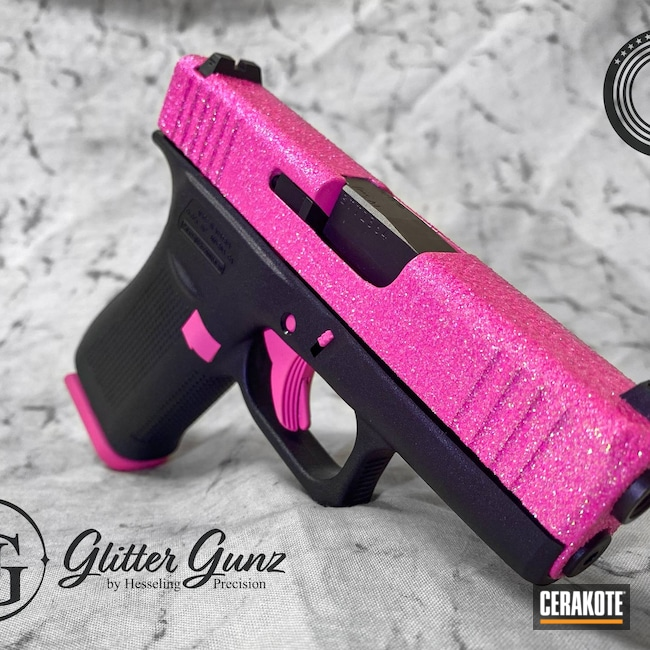 Cerakoted: S.H.O.T,9mm,Glitter Gun,Glitter,Glitter Glock,Pixie,Glock,Prison Pink H-141,Barbie,43x,Ladies