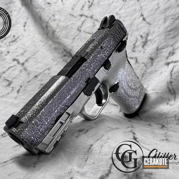 Glittered Smith & Wesson Pistol Cerakoted Using Satin Aluminum And Armor Black