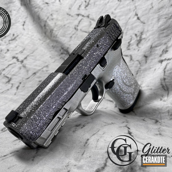 Cerakoted: S.H.O.T,Shimmer Shield,Glitter Gun,Glitter,.380,Smith & Wesson,Sparkle,Silver,Shine,Armor Black H-190,Satin Aluminum H-151,M&P Shield EZ