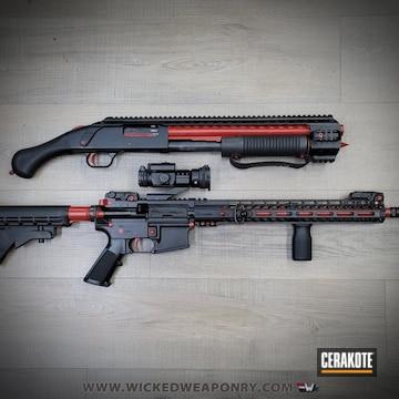 Shockwave Shotgun And Ar-15 Cerakoted Using Crimson