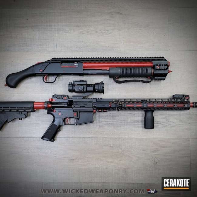 Cerakoted: S.H.O.T,Shotgun,Shockwave,Crimson H-221,Mossberg,Accent Color,Wicked Weaponry,AR-15