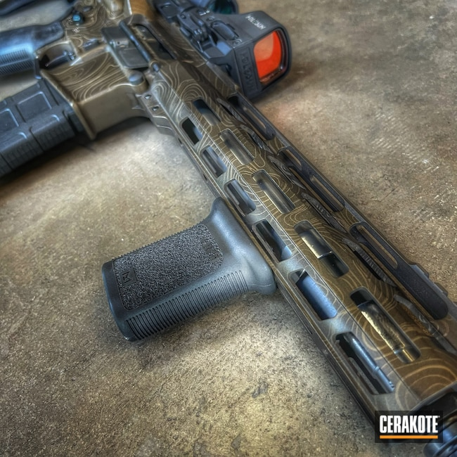 Cerakoted: S.H.O.T,AR Pistol,Precision Tactical,Topoflage,Burnt Bronze H-148,Midnight Bronze H-294,Laser Engrave,5.56,Topographical Map