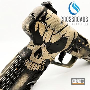 Skull Themed Fn Pistol Cerakoted Using Desert Sand And Graphite Black