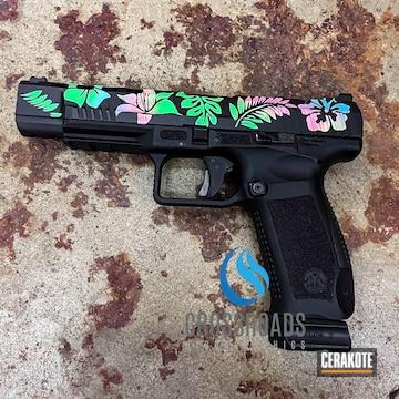 Canik Pistol Cerakoted Using Prison Pink, Parakeet Green And Nra Blue