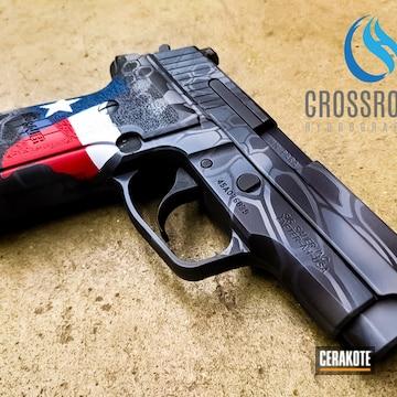 Kryptek Camo Sig Sauer Pistol Cerakoted Using Ridgeway Blue, Stormtrooper White And Usmc Red