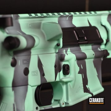 Tiger Stripes Themed Ar Build Cerakoted Using Graphite Black And Island Green