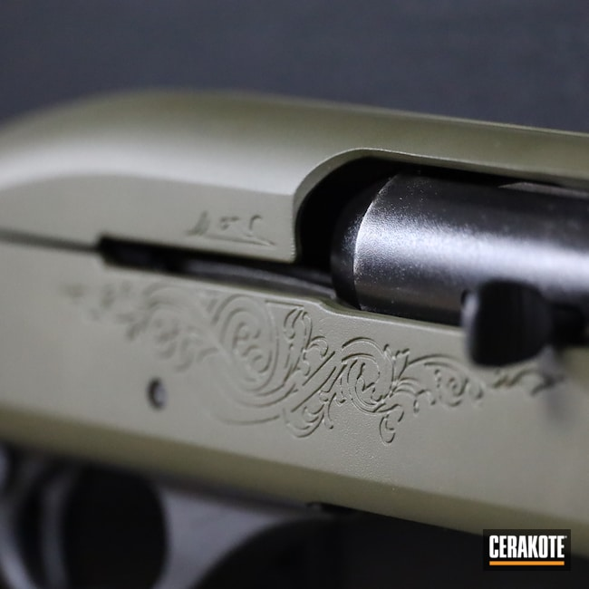Cerakoted: S.H.O.T,Shotgun,Graphite Black H-146,12 Gauge,Remington 1100,MAGPUL® O.D. GREEN H-232