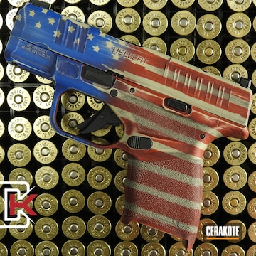 Battleworn American Flag Themed Springfield Armory Hellcat Pistol Cerakoted Using Usmc Red, Benelli® Sand And Nra Blue