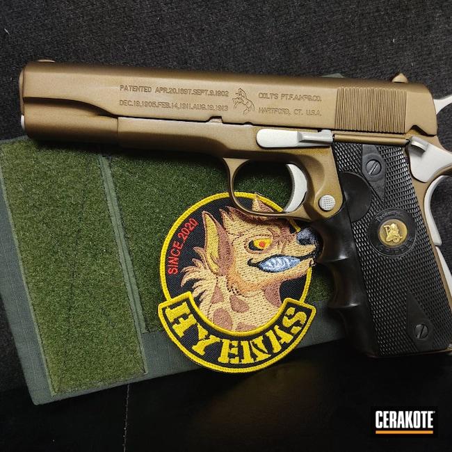 Cerakoted: S.H.O.T,.45,Shimmer Aluminum H-158,Colt 1911,Burnt Bronze H-148