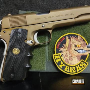 Colt 1911 Pistol Cerakoted Using Shimmer Aluminum And Burnt Bronze