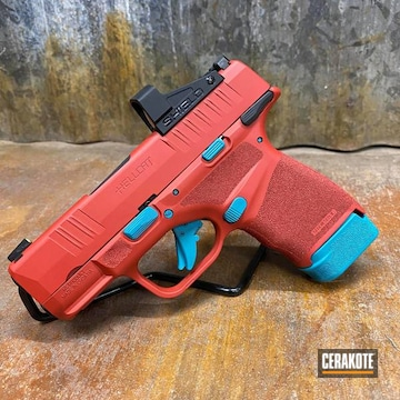 Springfield Armory Hellcat Pistol Cerakoted Using Aztec Teal And Firehouse Red