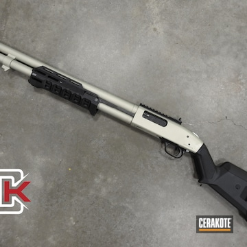 Mossberg 590 Pump Shotgun Cerakoted Using Bright Nickel