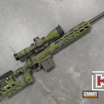Multicam Tikka Rifle Cerakoted Using Plum Brown, Mil Spec O.d. Green And Multicam® Bright Green