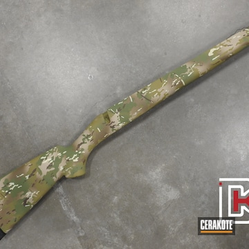 Multicam Rifle Stock Cerakoted Using Desert Sand, Multicam® Pale Green And Chocolate Brown