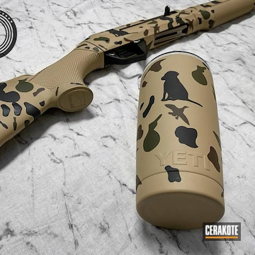 Custom Benelli Shotgun And Yeti Tumbler Cerakoted Using Armor Black, Desert Sand And Barrett® Bronze