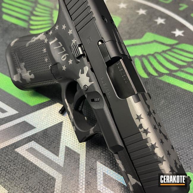 Cerakoted: S.H.O.T,Glock 19,Graphite Black H-146,Titanium H-170,Glock,American Flag,We the people