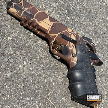 Kryptek Camo Kimber 1911 Pistol Cerakoted Using Armor Black, Patriot Brown And Usmc Red