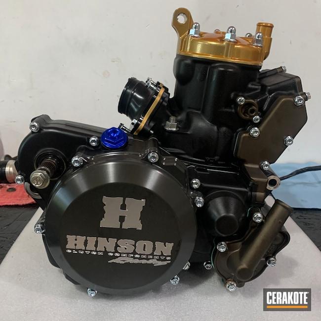 Cerakoted: S.H.O.T,Motor,Motorcycle Engine,Motocross,Yamaha,Dirtbike,Armor Black H-190,Engine,Dirt Bike,Midnight Bronze H-294