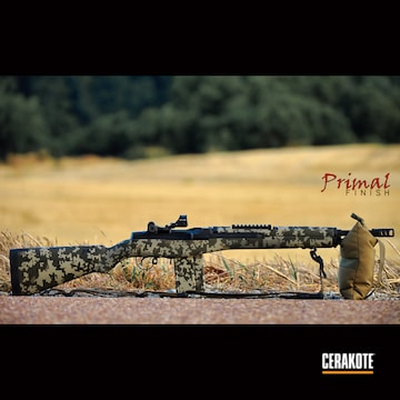 Digital Camo M1 Rifle Cerakoted Using Desert Sage, Magpul® O.d. Green And Graphite Black