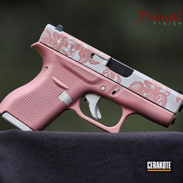 Floral Pattern Themed Glock 42 Cerakoted Using Satin Silver And Pink Champagne
