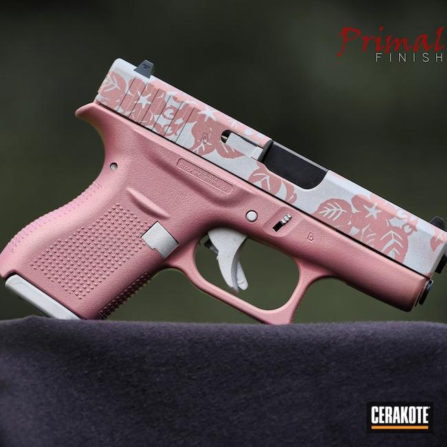 Cerakoted: S.H.O.T,Floral Script Pattern,Glock 42,Satin Silver V-119,PINK CHAMPAGNE H-311,Floral,Pistol,Glock,Floral Patterned,Handgun