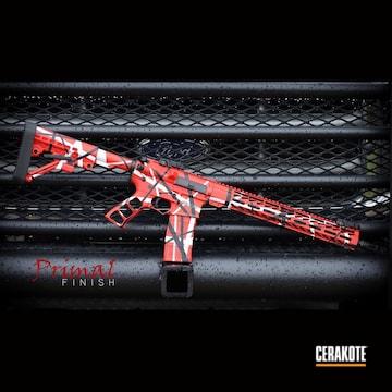 Ar Rifle Cerakoted Using Usmc Red, Bright White And Graphite Black