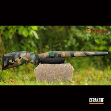 Custom Camo Rifle Chassis Cerakoted Using Highland Green, Chocolate Brown And Graphite Black