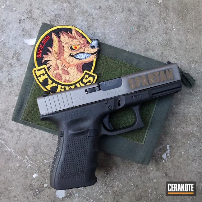 Cerakoted: S.H.O.T,Glock 19,9mm,Graphite Black H-146,Stainless H-152,Burnt Bronze H-148,Custom Logo
