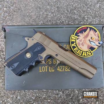Colt 1911 Pistol Cerakoted Using Graphite Black And Burnt Bronze