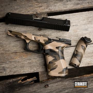 Custom Camo Glock Cerakoted Using Troy® Coyote Tan, Armor Black And Patriot Brown