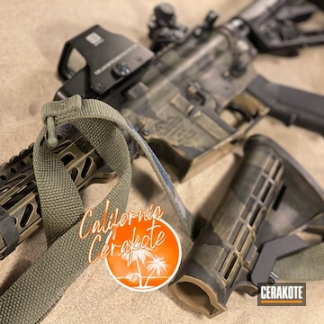 Tiger Striped Ar Build Cerakoted Using Coyote Tan, Graphite Black And O.d. Green