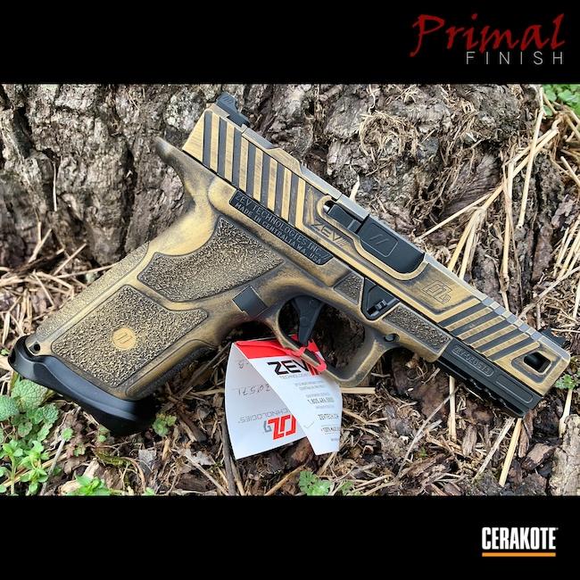 Cerakoted: Battleworn,Graphite Black H-146,ZEV OZ9,Pistol,Zev,Semi-Auto,OZ9,Gold H-122