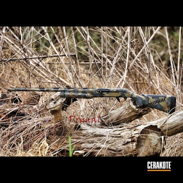 Custom Camo Benelli Cerakoted Using Forest Green, Steel Grey And Sniper Grey