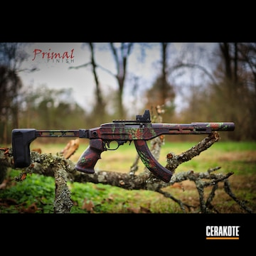 Custom Gator Camo Pattern Ruger 10/22 Cerakoted Using Usmc Red, Zombie Green And Graphite Black