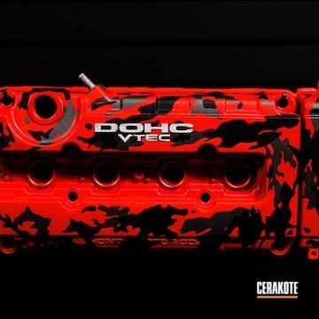 Honda Valve Cover Cerakoted Using Armor Black, Usmc Red And Tungsten
