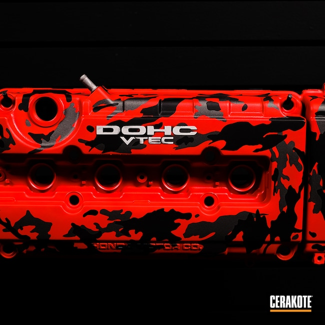 Cerakoted: Car Parts,Valve Cover,Car,Black,USMC Red H-167,Tungsten H-237,Armor Black H-190,Engine,Automotive,Honda,Grey,Red
