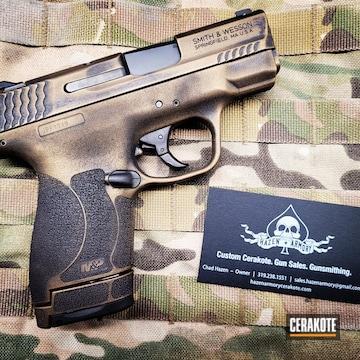 Battleworn Smith & Wesson M&p Cerakoted Using Graphite Black And Burnt Bronze