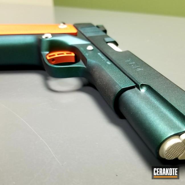 Cerakoted: S.H.O.T,Meprolight Night Sights,Handgun Frame,BLACKOUT E-100,Pistol,Tac Granite,Aarmscore,Pistol Slide,HI-VIS ORANGE H-346,Gun Candy Pulse,Handgun,Double Stack,9mm,FROST H-312,Grips,Gun Candy Alpine,1911,Rock Island 1911 22TCM,Gun Candy Mako