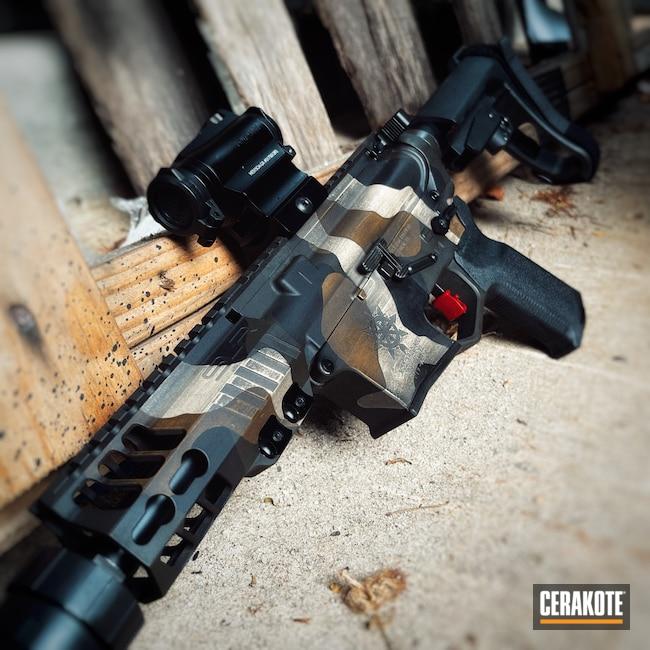 Cerakoted: S.H.O.T,9mm,AR Pistol,Precision Tactical,Woodland Camo,Desert Sand H-199,Camo,Armor Black H-190,O.D. Green H-236,A.I. Dark Earth H-250