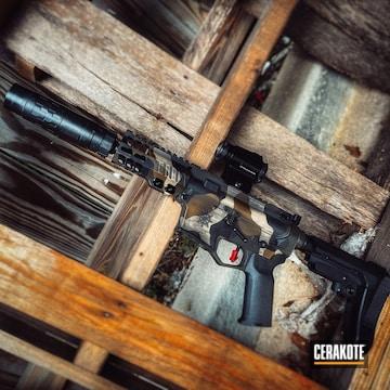 Custom Camo Ar Build Cerakoted Using Armor Black, Desert Sand And A.i. Dark Earth