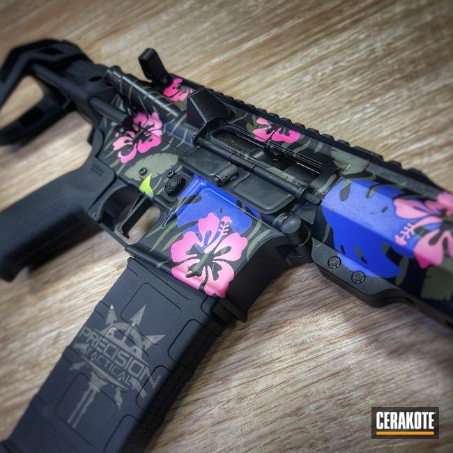 Cerakoted: S.H.O.T,Periwinkle H-357,Bazooka Pink H-244,AR Pistol,Precision Tactical,Armor Black H-190,Boogaloo,Prison Pink H-141,Noveske Bazooka Green H-189,Flat Dark Earth H-265,Flowers,5.56