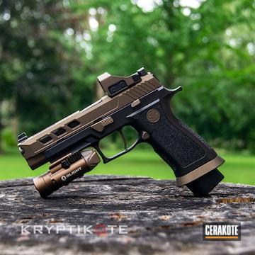 Sig Sauer P320 Pistol Cerakoted Using Midnight Bronze And Graphite Black