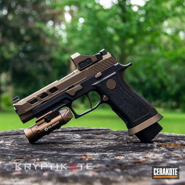 Cerakoted: 9mm,Sig P320,Graphite Black H-146,Sig Sauer,Midnight Bronze H-294