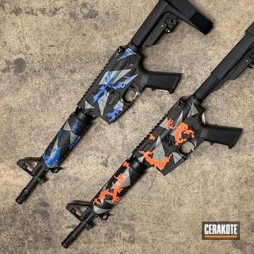 Ar-15's Cerakoted Using Hunter Orange, Armor Black And Nra Blue