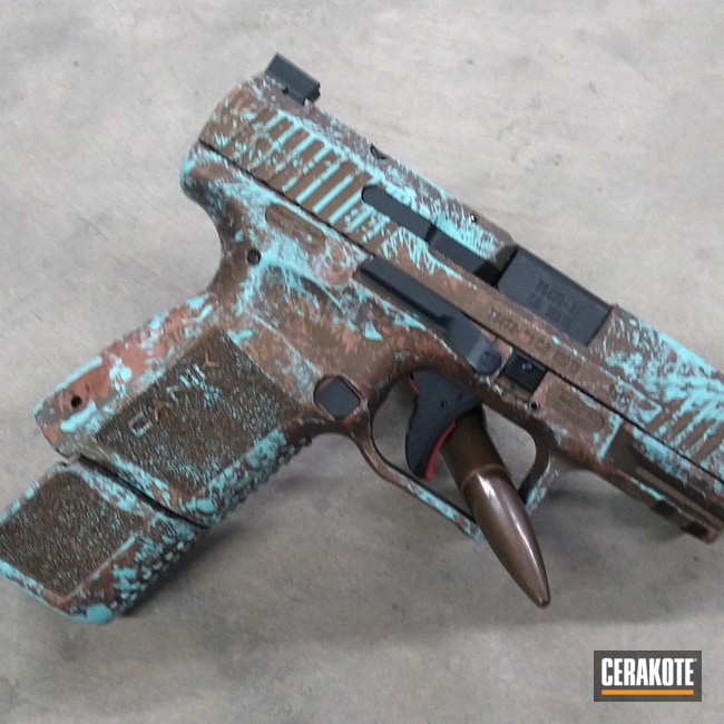 Cerakoted: S.H.O.T,9mm,COPPER H-347,Robin's Egg Blue H-175,TP9,Canik,Aged Patina,Burnt Bronze H-148,Pistol,Weathered,Handgun