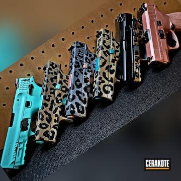 Pistols Cerakoted Using Multicam® Dark Grey, Snow White And Rose Gold