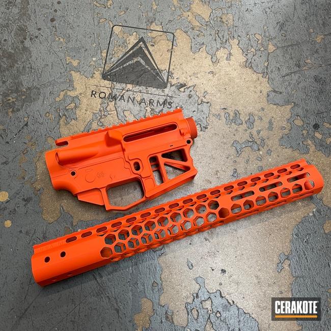 Cerakoted: S.H.O.T,AR15 Builders Kit,Modern Sporting Rifle,Upper / Lower / Handguard,Hunter Orange H-128,80%,AR-15